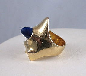Modernist 18K gold Lapis Lazuli ring by Georg Jensen