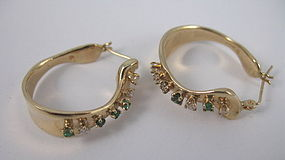 Retro 14K gold diamond emerald hoop earrings