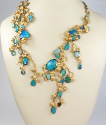 Retro, 14k yellow gold, opal abstract necklace
