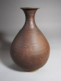 A Very Rare Koryo Iron-Brown Glazed Baluster Bottle