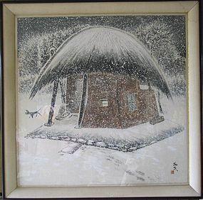 Winter Scene Painting by Ryu-Chun, Kim Wha-Kyung