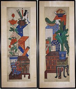 Pair of Very Fine Mineral Pigment Painted Chaekkori
