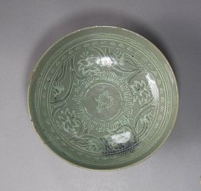 Very Finely Inlaid/Fine Green-Grey Celadon Bowl