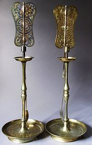 Very Fine Pair of Rare/Fine Incised Brass Candle Sticks