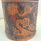 A Large and Finely Carved Korean Bamboo Brush Pot-19th