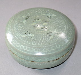 Very Fine/Large Celadon Inlaid Cosmetic Box/Cover