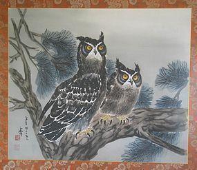 Two Owls Perching on Pine Tree by Woon-Bo,  Kim Ki-Chang