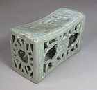 A Rare / Fine  Inlaid and Open-Work Celadon Pillow-12th C.