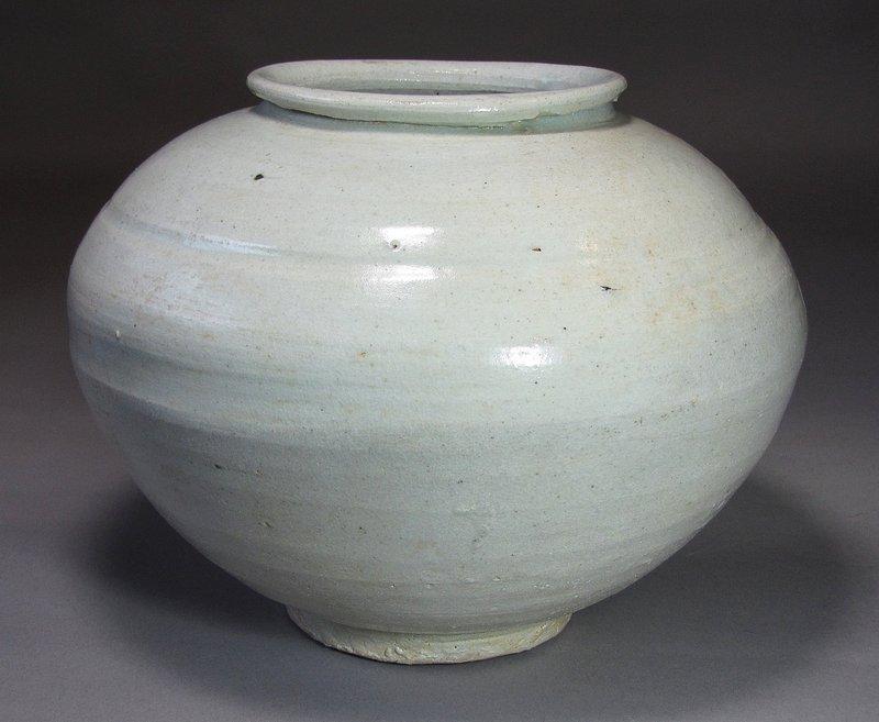A Very Rare and Fine Korean White Glazed Jar-17th -18th C.: