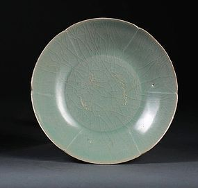High Quality of Koryo Celadon Bowl with Foliate Rim and Ribs