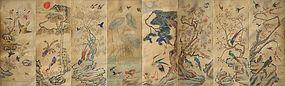 Fine/Large 8 Panel  Bird/Flower Folk Painting Screen