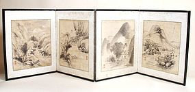 Japanese Vintage Byobu Ink-painting Of Nature