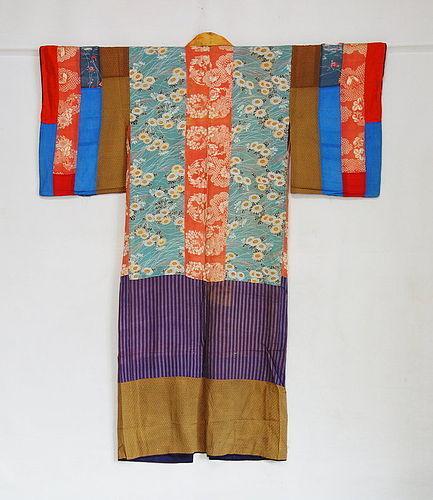 Japanese Antique Textile Silk Hagi-isho Juban Under Kimono (item