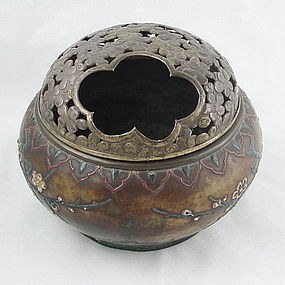 Japanese Bronze and Enamel Hand Warmer Box