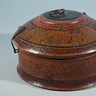 Thai Red Painted Wood Round Box with Attached Lid