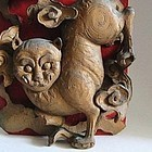 Rare Chinese Wood Plaque with Cat, Qing Dynasty