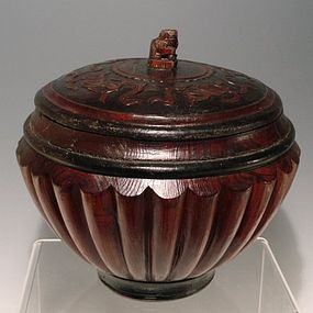 Chinese Wood and Lacquer Box with Foo Dog