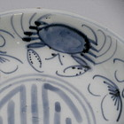 Chinese Blue and White Porcelain Crab Plate, Marked