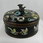Chinese Black Cloisonne Box with Precious Objects