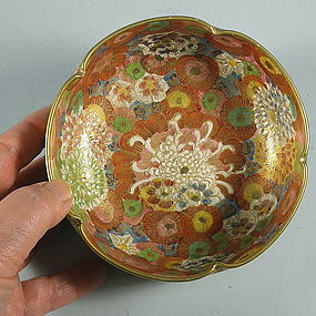 Japanese Satsuma Mille Fleur Bowl, Early Tashio