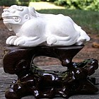 Rare Crouching Dog White Ink Cake for Chinese Scholar