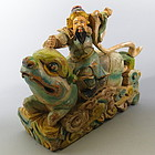 Chinese Wood Warrior Riding Mythical Beast, 19th C