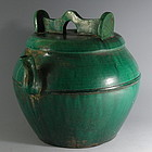 Large Chinese Green Glaze Shiwan Teapot with Lid