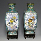 Large Chinese Canton Enamel Vases with Chang