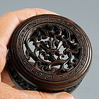 Rare Chinese Antique 19th C Hand Carved Wood Jar Lid