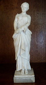 Tall Italian Alabaster Statue Standing Greek Goddess
