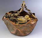 Aesthetic Mixed Metal Bird on Basket, Copper Bronze Silver