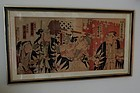 Japanese Woodblock Triptych Theater Print, 19th C