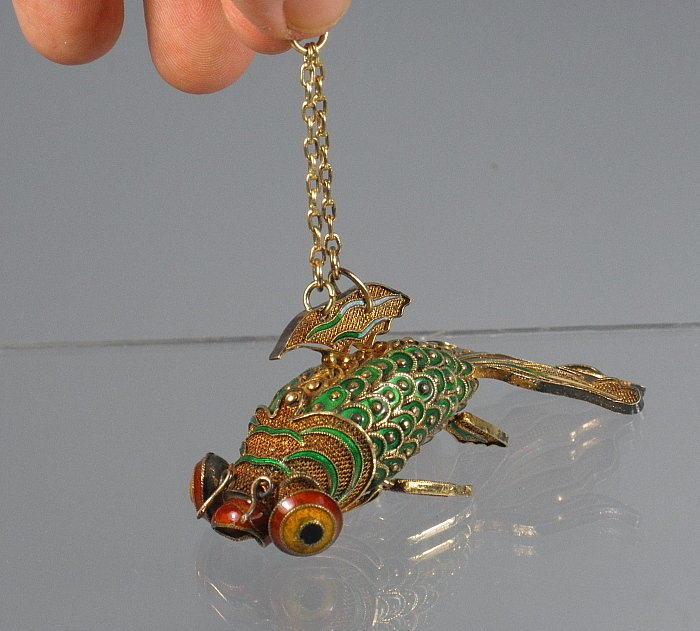 Chinese Articulated Gold Enamel Cloisonne Fish