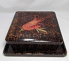 Japanese Lacquer Kashibachi Urushi Box and Tray Lobster