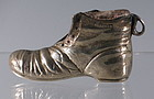 English Sterling Silver Pauper Boot Shoe Match Striker