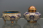 Chinese Cloisonne Blue White Salt and Pepper Set, Qing