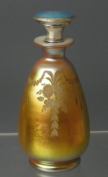 Frederick Carder Steuben Glass Aurene Perfume Bottle