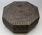 Antique Carved Octagonal Wood Lacquer Box with Shells, Circa 1850