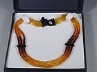 Antique 3 Strand Baltic Amber Necklace Yellow Honey Cognac Cherry