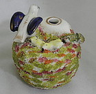 Staffordshire Quill Pen Holder Inkwell Dove Hatchlings Nest and Snake