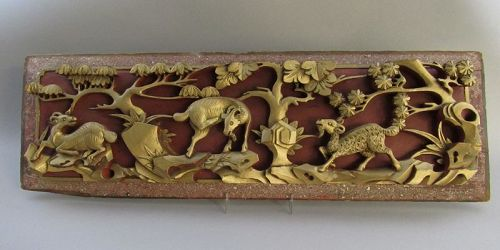 Long Old Chinese Carved Wood Panel With 3 Goats Sheep Item