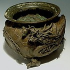 Japanese Bronze Dragon Hibachi with Monkeys, Meiji