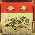 Rare Japanese Textile Bride's Silk Noren, Tashio