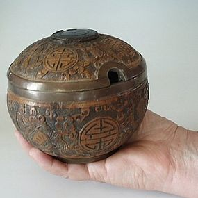 Rare Coconut and Metal Opium Box with Precious Objects