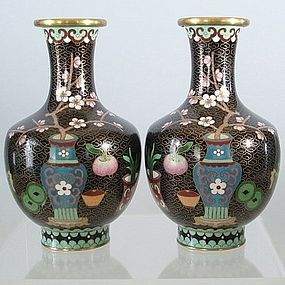 Pair Unusual Chinese Cloisonne Black Ground Vases