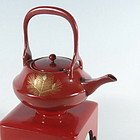 Japanese Red Lacquer Cold Sake Pot with Stand