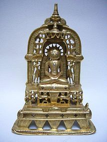 Indian Bronze Jain Shrine Dated 1394