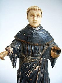 Saint Anthony in Wood and Bone from Goa 19th Century
