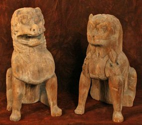 Early Heian Period Wood Koma Inu Temple Dogs