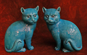 Pair of Meiji Period Blue Kutani Porcelain Cats